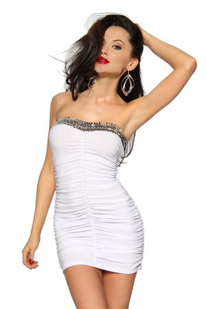 Mini-Kleid mit Pailletten weiß – Bild 2