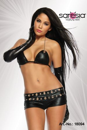 SARESIA  Wetlook Hot-Pants Set schwarz – Bild 1