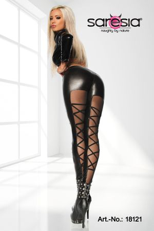 SARESIA Wetlook-Leggings schwarz – Bild 2