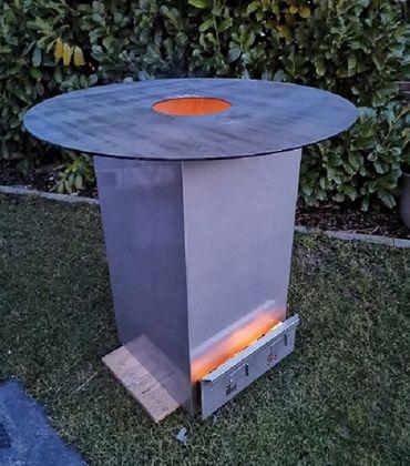 V2A Edelstahl Grillplatte Grillturm Feuerplatte - 80x40x40cm 5mm Platte – Bild 1