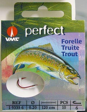 VMC Perfect Forelle rot gebundene Forellenhaken 120cm Vorfach