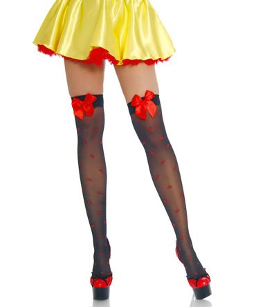 Beautys Love Stockings mit Herzmuster schwarz/rot