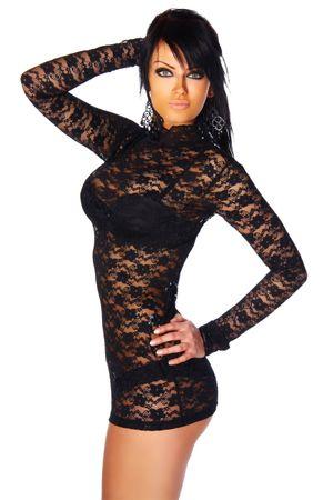Mini-Kleid /Longshirt aus Spitze schwarz – Bild 2