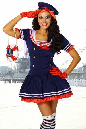 Marine-Kostüm blau/rot/weiß – Bild 1