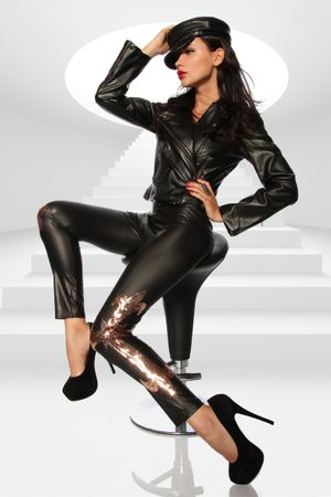 Wetlook-Leggings schwarz/gold – Bild 1