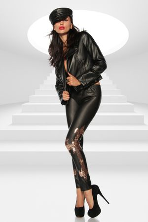 Wetlook-Leggings schwarz/gold – Bild 3