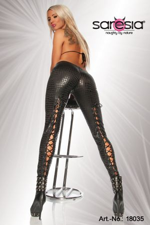 SARESIA Wetlook-Leggings kroko/schwarz – Bild 1