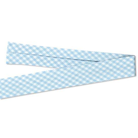 Bio Baumwolle Schrägband Karo weiß hellblau
