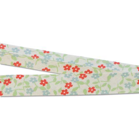 Bio Baumwolle Schrägband Blumen rot blau grün creme