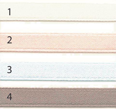 Bio Baumwolle Doubleface Satinband weiß rosa taupe hellblau 12mm