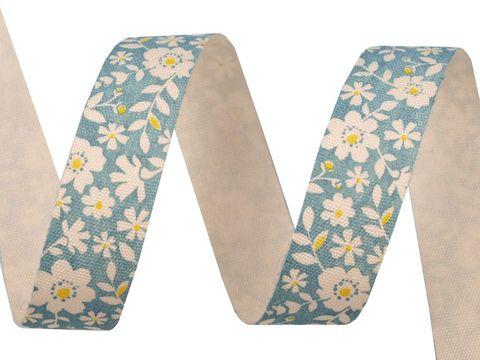 Webband Baumwolle 15mm bedruckt Blumen blau