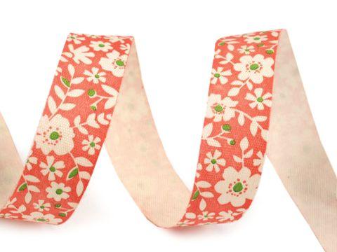 Webband Baumwolle 15mm bedruckt Blumen rot
