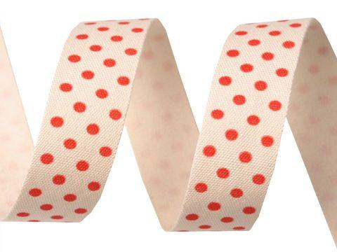 Webband Baumwolle 15mm Punkte rot