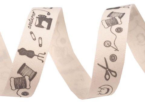 Webband Baumwolle 15mm Schneiderzubehör Aufdruck beige braun