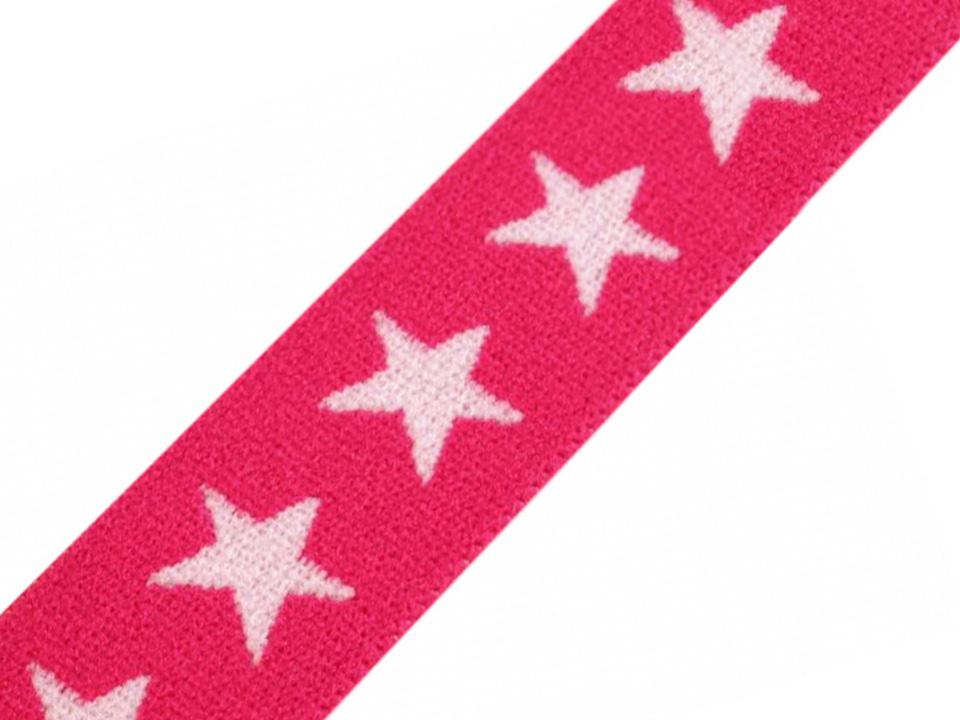 Gummiband 20mm Sterne pink weiß