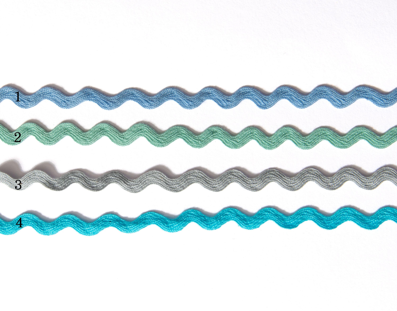 Baumwolle Zackenlitze 6mm breit in blau grün grau oder türkis