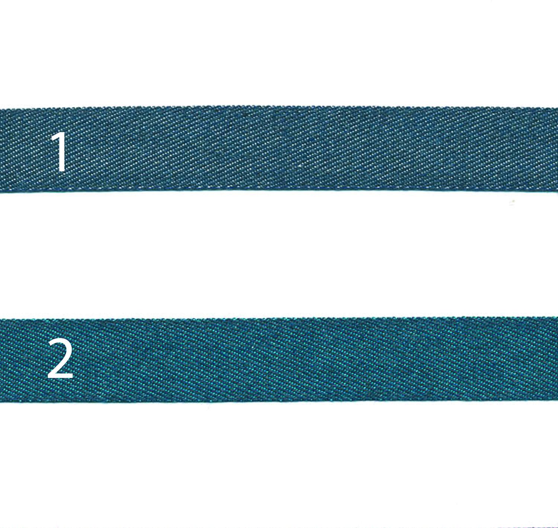 Webband Baumwolle Denim 18mm dunkelblau türkis