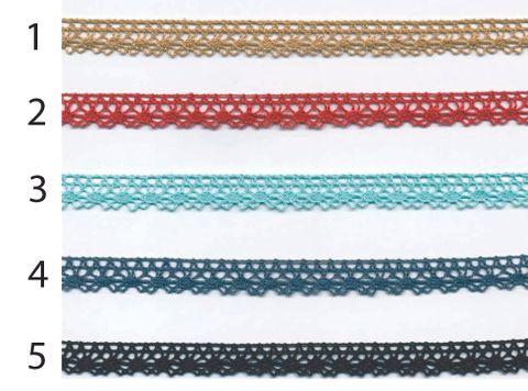 Häkelspitze Band Baumwolle beige rot türkisgrün dunkelblau petrol schwarz