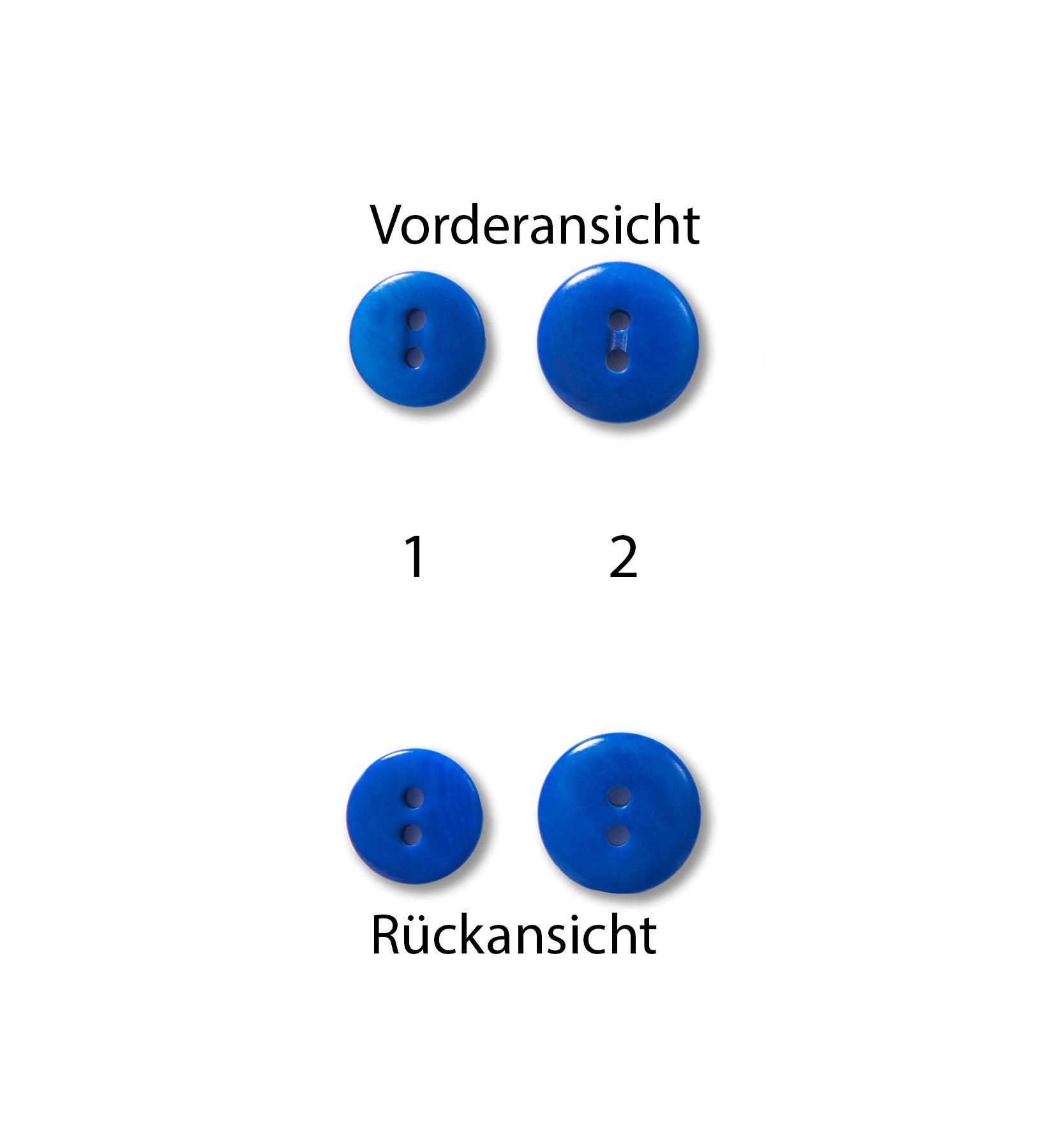 Knöpfe 15mm 12,5mm Steinnuss rund indigo blau