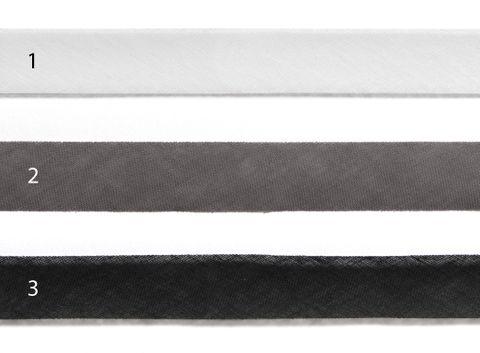 Webband 30mm Baumwolle Schrägband offen schwarz weiß grau uni