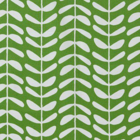 Bio Baumwolle Canvas weiße Ranken auf grün 0,5m