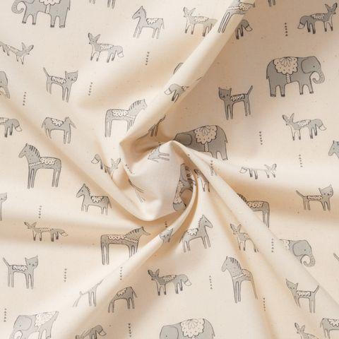 Baumwolle Popeline Tiere grau auf cremefarbenem Grund