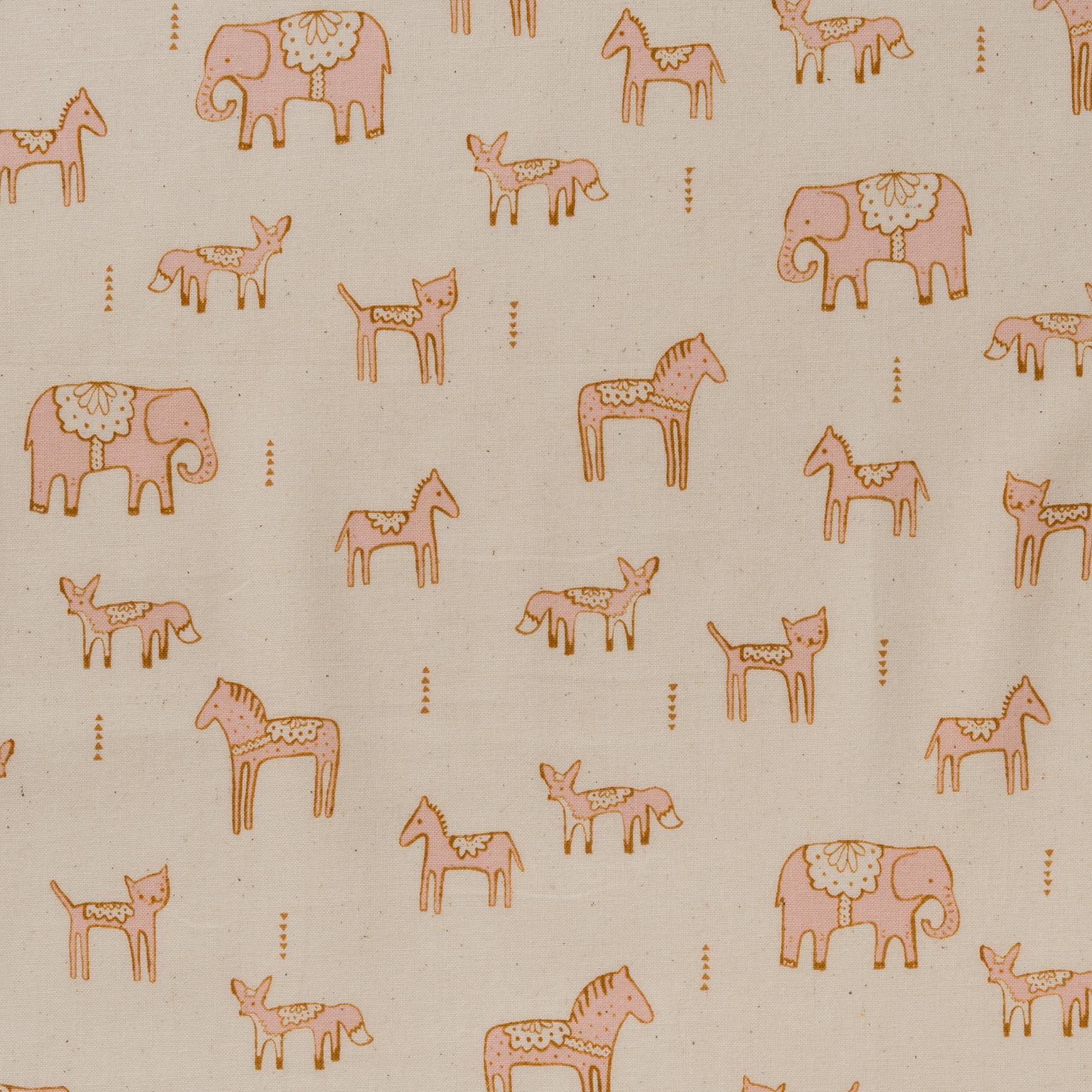 Baumwolle Popeline Tiere rosa auf cremefarbenem Grund