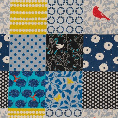 Baumwolle Leinen Canvas bedruckt mit Patchwork Quadraten in blau, schwarz und gelb
