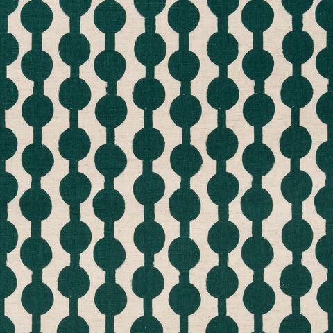 Baumwolle Leinen Canvas bedruckt mit grafischem Muster in grün auf beigem Grund
