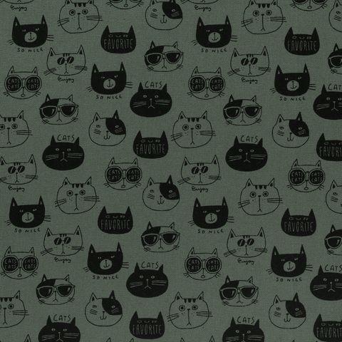 Baumwolle Canvas bedruckt mit Katzen in schwarz auf grünem Grund