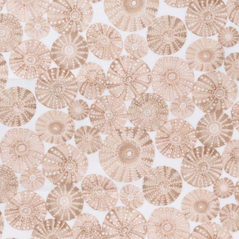 Baumwolle Popeline mit Seepocken Korallen in braun und beige auf weißem Grund