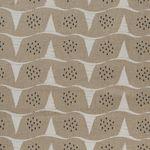 Baumwolle Canvas bedruckt mit grafischen Wellen in weiß kleinen schwarzen Dreiecken auf beigefarbenem Grund  001