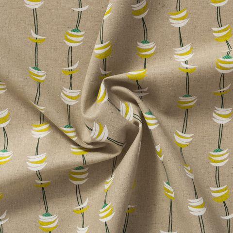 Baumwolle Canvas bedruckt mit grafischen Wellen und Halbmonden in weiß und gelb auf beigefarbenem Grund