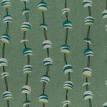 Baumwolle Canvas bedruckt mit grafischen Wellen und Halbmonden in weiß, türkis und gelb auf türkisfarbenem Grund  001
