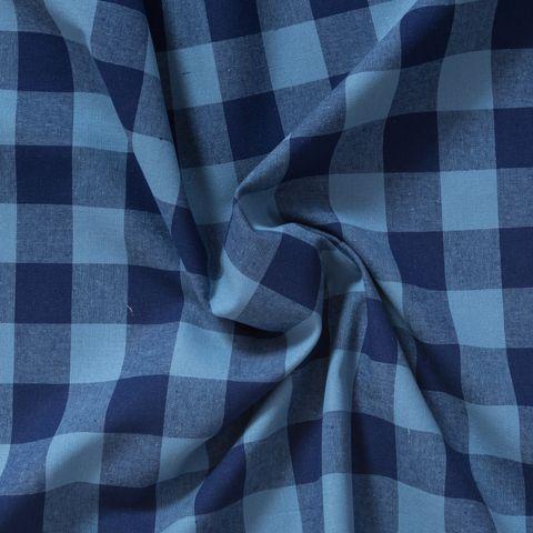 Baumwolle Popeline großes Karo in blau