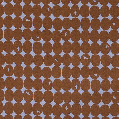Baumwolle Canvas bedruckt mit Punkten und Vögeln in braun auf fliederfarbenem Grund