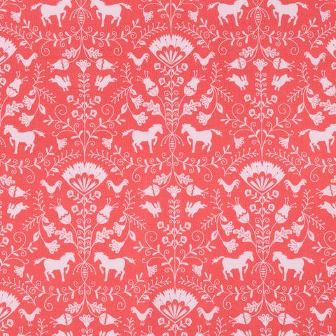 Baumwolle Popeline mit Pferden, Hasen und Blumenranken in hellrosa auf pinkfarbenem Grund