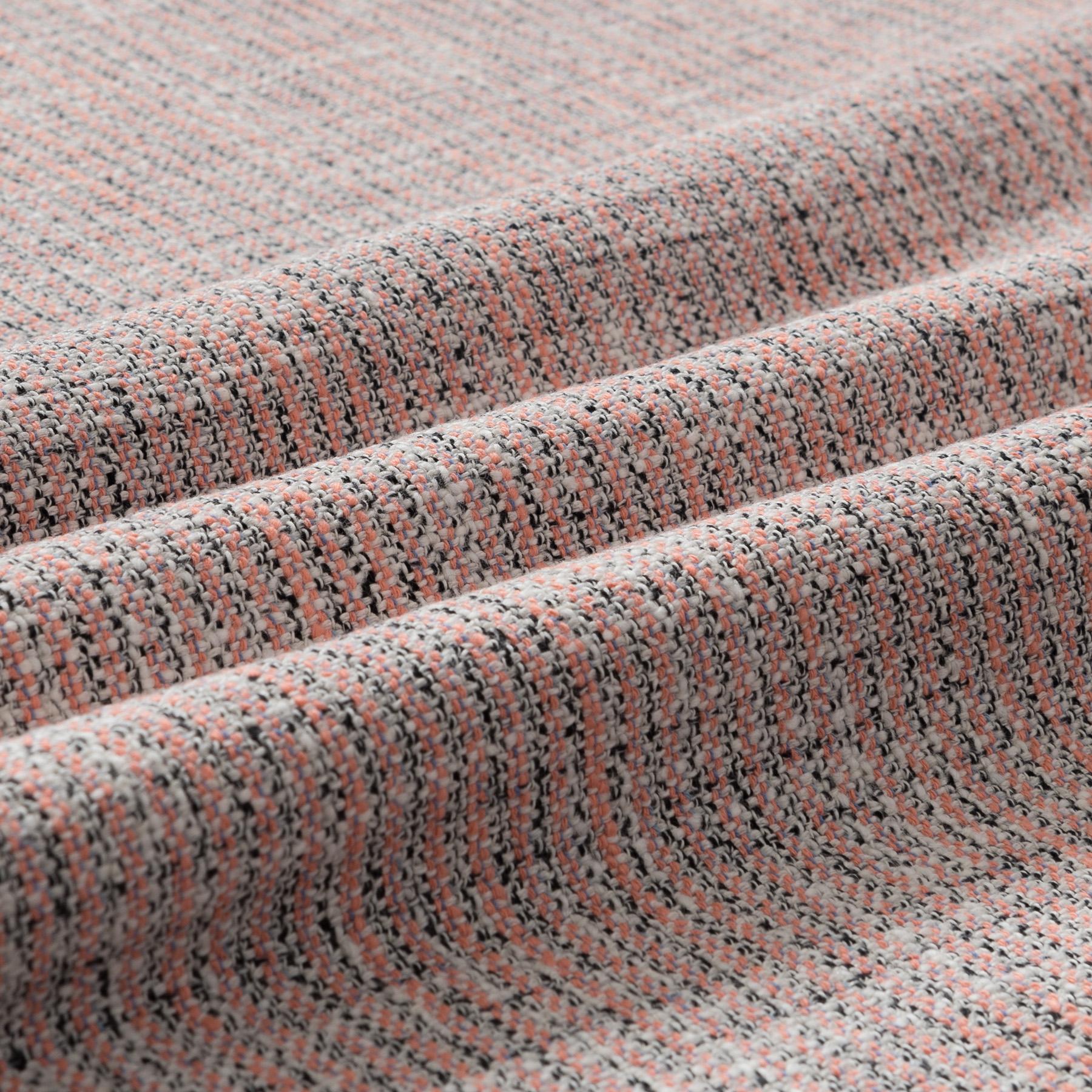 Baumwolle Leinen Tweed gestreift in rosa, weiß und schwarz