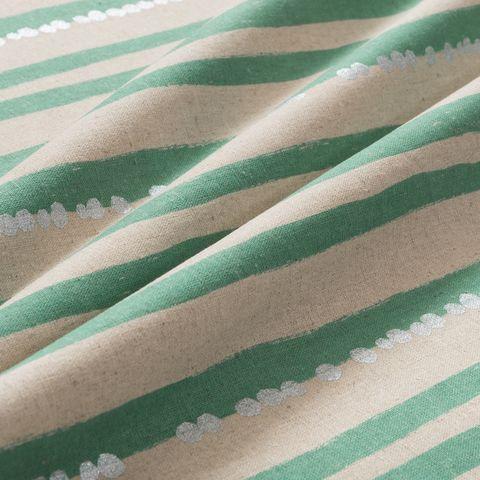 Baumwolle Canvas bedruckt mit Streifen in türkis und Punkten in silber auf naturbeigem Grund