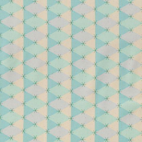 Baumwolle Popeline Rautenmuster in hellblau und mintgrün mit kleinen Sternchen