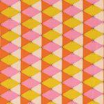 Baumwolle Popeline Rautenmuster in orange, gelb und rosa mit kleinen Sternchen  001