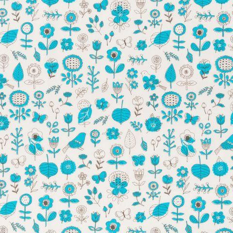 Baumwolle Popeline blaue Blumen und Blätter auf weißem Grund