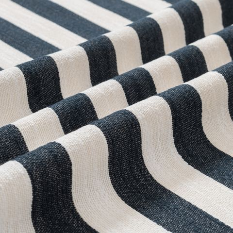 Canvas Streifen Baumwolle mit breiten Streifen in dunkelblau und creme weiß