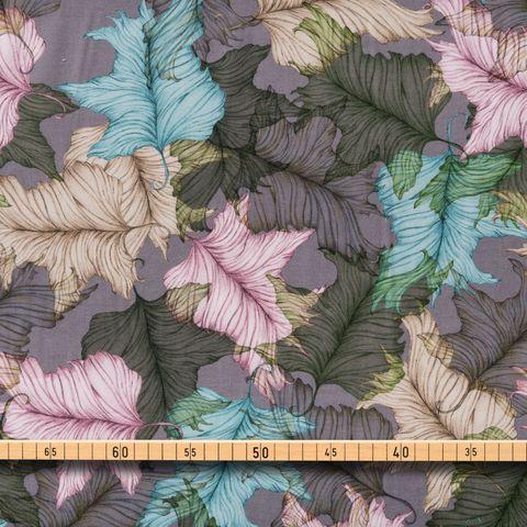 Bio Baumwolle Voile GOTS filigranes Blättermuster grün, blau, beige auf dunklem flieder