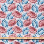 Bio Baumwolle Voile GOTS filigranes Blütenmuster rot und blau auf weiß  001