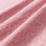Bio Baumwolle Jacquard Jersey GOTS Punkte türkis, rosa, gelb auf rosa  001
