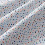 Bio Baumwolle Jacquard Jersey GOTS Punkte türkis, blau und rot auf weiß  001