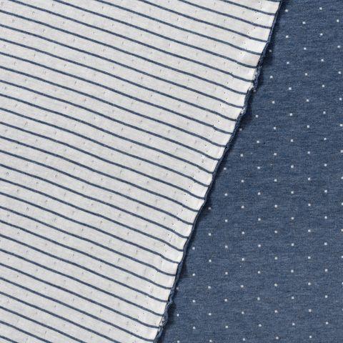 Bio Doubleface Jacquard Jersey GOTS Punkte und Streifen indigo blau weiß