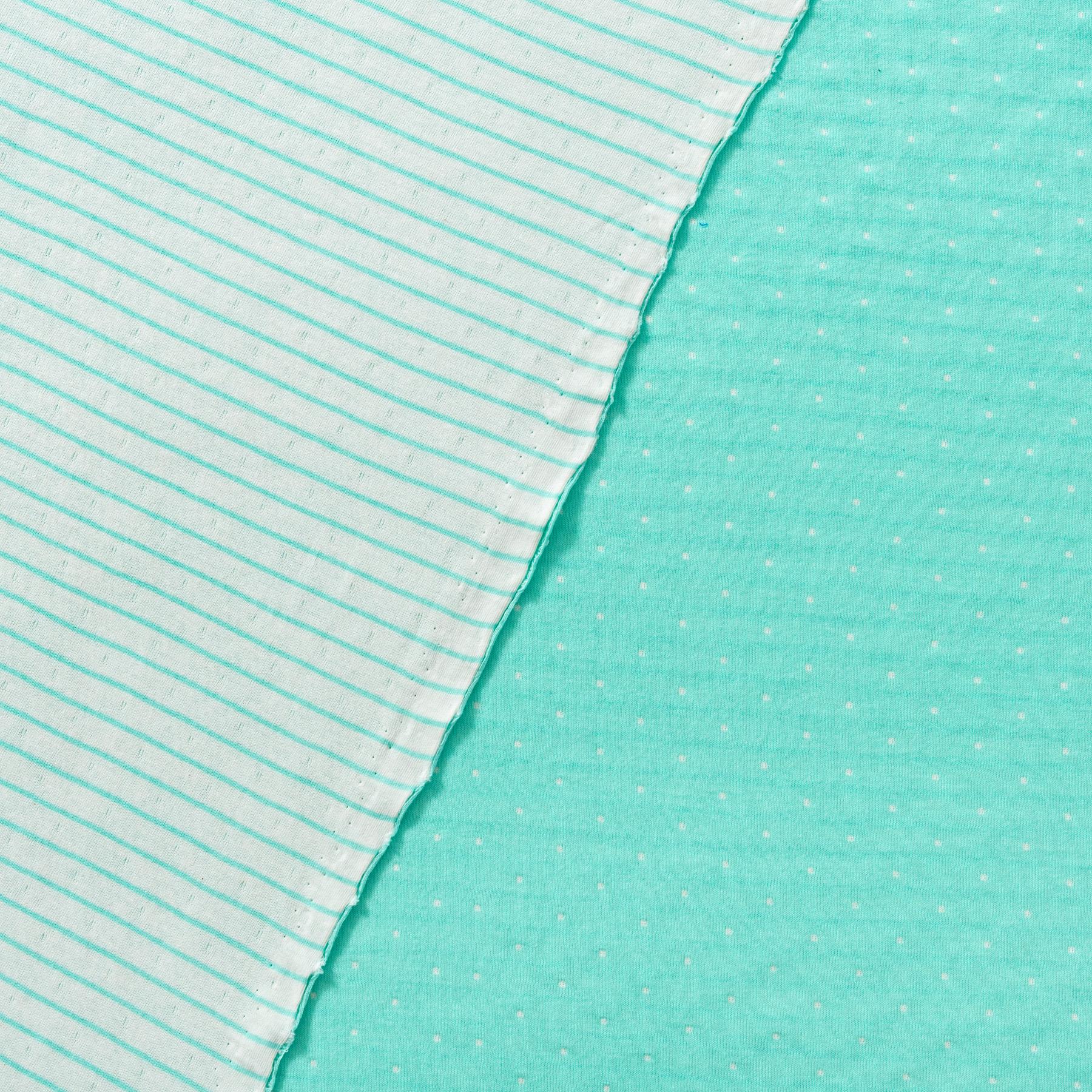 Bio Doubleface Jersey Punkte Streifen türkis