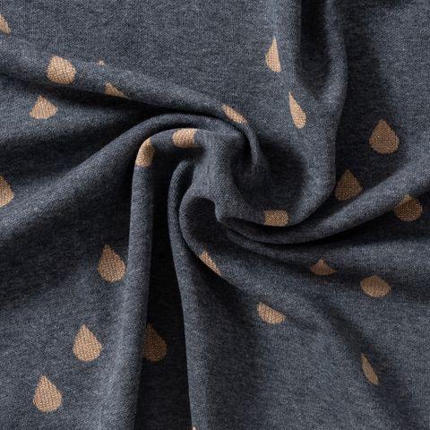 Bio Baumwolle Lurex Jacquard Jersey GOTS Tropfen gold auf grau